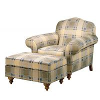 Buy cheap Modern Comfortable Tartan Fabric Leisure Chair Ottoman Wood Frame from wholesalers