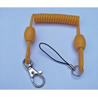 China 3.0mm dia Solid Yellow Extended 80cm Retractable Coil Chain with Snap Hook&Nylon Strap wholesale