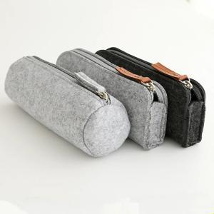 Quality Promotional zipper round felt pencil pouch/ pencil cases. size:20cm*6.5cm 2mm for sale