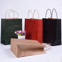 China Folding Brown Paper Shopping Bags With Strong Heat Resistant Glue Reinforce wholesale