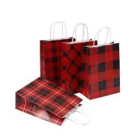 China Grid Pattern Custom Printed Carrier Bags , Brown Paper Gift Bags Size 16 X 8 X 22 Cm wholesale