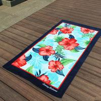 China Hibiscus Flower Promotional Beach Towels Rectangular With Multi - Function wholesale