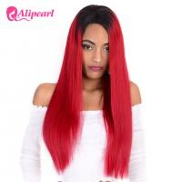 Buy cheap Human Natural Hair Full Lace Wigs Silky Straight 1B Red Ombre Color 8A from wholesalers