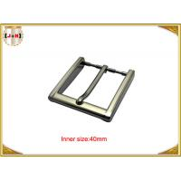 China 40mm Square Zinc Alloy Custom Metal Belt Buckles With CNC Engraved Logo wholesale