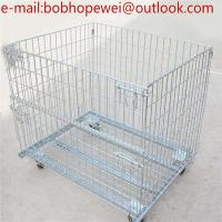 China storage cage wire mesh container/Storage Containers Collapsible Eur Container with Wheels/industrial stackable storage wholesale