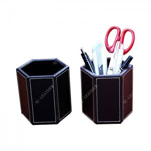 China Pen Stand PU Leather 9cm Office Stationery Holder wholesale
