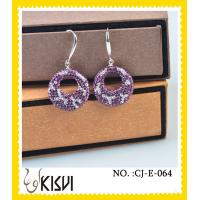 China Fashion design crystal & silver purple round handcrafted crystal jewelry earrings wholesale