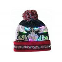 China Acrylic Christmas Kids Knit Beanie Embroidered Patterns With LED Lights wholesale