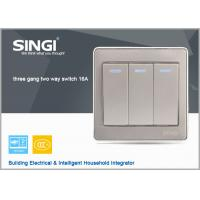 Buy cheap GNW56BK Long Lifespan 3 gang 2 way wall switch with led indicator light, 16A switch from wholesalers
