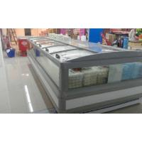 China Gray R404a Supermarket  Island Freezer Cabinet With Curve Glass Sliding Open wholesale