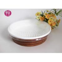 Quality 10oz Single Wall Paper Salad Bowls With Flat Lid Waterproof Wood Deisgn for sale