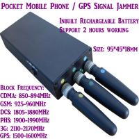 China 3 Antenna Mini Mobile Phone Signal Jammer 3G/GSM/CDMA/DCS/PHS GPS Blocker Inbuilt Battery wholesale