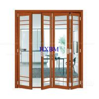 China Tempered Clear Glass Aluminum Folding Doors Flush Appearance Anti Aging wholesale
