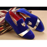 Buy cheap Men'S Velvet Loafer Shoes With Personality Tiger Head Gold Buckle Red Bottom Shoes from wholesalers