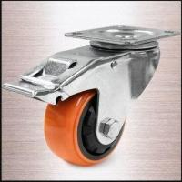 China 100mm Heavy-duty Thread Guard Total Lock Caster with Plate and Orange PU Tread wholesale