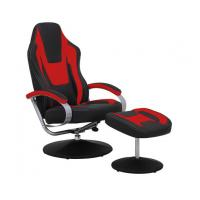 China Black & Red Vinyl Recliner Home Office Desk Chair With Ottoman / Adjustable Computer Chair wholesale