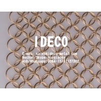 China Chainmail Ring Mesh Curtain, Decorative Chain Mail Curtains, Bronze/ Copper Welded Architectural Ring Mesh on sale