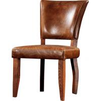 China Brown Vintage Leather Dining Chair 100% Solid Wood Frame Home Furniture   wholesale