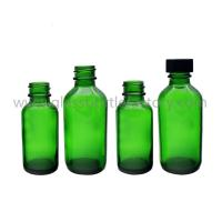 Buy cheap 1oz and 2oz Green Boston Round Glass Bottles With Black Caps from wholesalers