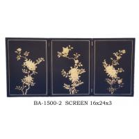China Rectangle Soild Wood Decorative Folding Screens Room Divider Black Background Gilding wholesale