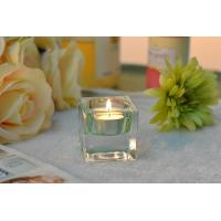 China Square Colored Glass Votive Candle Holders , Glass Tealight Holders wholesale