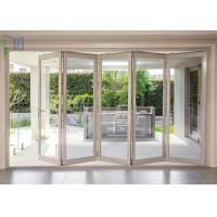 China Aluminum Double Glazed Folding Sliding Mosquito Screen Accordion Bi-fold Door wholesale