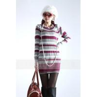 China Fashion Pullover Cable Knit Sweaters / Long Striped Sweaters For Women wholesale