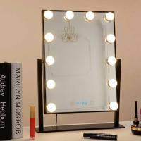 China Desk Square Vanity Makeup Mirror With Light Bulbs , Portable Light Up Mirror wholesale