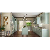 China Villa Fashion Style Green Color Pvc Kitchen Furniture U - Shape With Island Bench wholesale