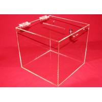 China 3mm Clear Acrylic Storage Boxes , Custom Square Locking Donation Box wholesale