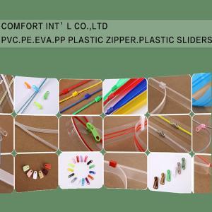 China Garments Accessories PVC PE EVA PP Transparent Plastic Zipper Plastic Sliders on sale