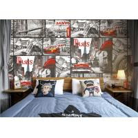Quality Paris Themed Wallpaper For Bedroom / Removable Boys Room Wallpaper for sale