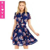 China Female floral print dress,single-row button square collar short-sleeved chiffon dresses on sale