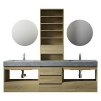 China Large Storage Space Grey Bathroom Vanity , 2 Touch Round Mirrors Wall Mount Vanity wholesale