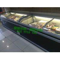 China Energy Saving Combined Supermarket Island Freezer For Seafood With Curved Glass Door wholesale