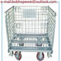 China Storage Metal Roll Cages Folding Wire Mesh Box & Container/foldable galvanized industrial stackable storage cages wholesale