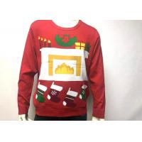 China Mens Cotton Print Fireplace Ugly Christmas Jumper Crew Neck Long Sleeve wholesale