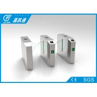 China Stainless Steel Glass Turnstile , Amusement Park Entrance Barrier Systems wholesale