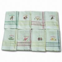 China Beige Velour Printed Kitchen Towels in Fringes, Made of 100% Cotton, Measures 15 x 25 Inches  wholesale