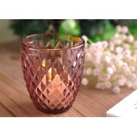 China Beautiful coloured glass candle holders / clear glass votive candle holders Diamond Embossed Pattern wholesale