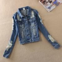 China Button Closure Down Patch Womens Denim Jeans Jacket With Embroidered Pocket wholesale