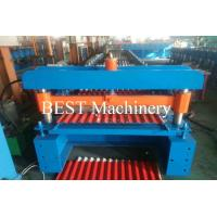 China Corrugated Color Steel Roofing Sheet Roll Forming Machine Hydraulic Cutting Type wholesale
