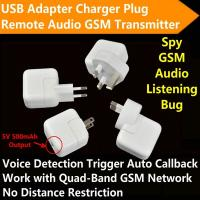 China Mini AC Adapter Charger US/EU Plug Hidden Spy GSM SIM Remote Audio Transmitter Listening Ear Bug W/ 5V USB Output wholesale