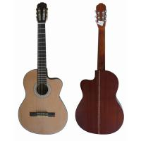 Quality Vintage 39inch 4/4 Cutaway Spruce Top Sapele Back Wood Classical Guitar Natural for sale