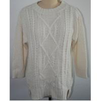 China Pure Cotton Crew Neck Thin Cable Knit Sweater Women With 5gg Big Gauge Knitting Patterns on sale