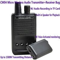 Quality CW04 Mini Wireless Remote Audio Transmitter Receiver Spy Bug W/ Voice Recording for sale