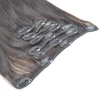 China Natural Black Straight Human Hair Clips in Hair Extension for Black Women wholesale