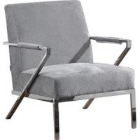 China Single Upholstered Arm Chair , Contemporary Fabric Easy Chair , Stainless steel frame chair wholesale