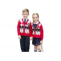 China Embroidery Logo School Uniform Sweaters Red Navy Pure Cotton Argyle Pattern wholesale