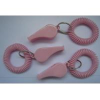 China Fashionable Solid Pink Round Wrist Band Spiral Coil w/Key Ring and School Whistle wholesale